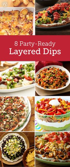 Don't be afraid to layer on the flavor! From classic seven-layer to pizza and BLT, these dips know how to keep everyone coming back or more. Finger Food Appetizers, Yummy Appetizers, Appetizers For Party, Appetizer Dips, Finger Foods, Appetizer Recipes, Parties Food, Holiday Parties, Party Dips