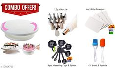 Dinnerware & Serving Pieces 1 PCS of Cake Turntable & 4 PCS of Cake Scrapers & 1 PCS of Icing Bag, 12 Pcs Nozzle, 8 PCS of Measuring Cup & Spoon, 1 PCS of Spatula & 1 PCS of Brush Material: Plastic Pack: Pack of 1 No. of Measuring Cups: 4 No. of Measuring Spoons: 4 Length: 14 cm Breadth: 10 cm Height: 17 cm Size (in ltrs): 4.5 ml Country of Origin: India Sizes Available: Free Size   Catalog Rating: ★4.3 (901)  Catalog Name: Unique Measuring Cups CatalogID_2005360 C136-SC1602 Code: 506-10864799-7251