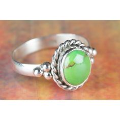 Amazing Green Turquoise Gemstone 925 Silver Ring via Polyvore featuring jewelry, rings, green gemstone rings, gemstone rings, silver rings, silver jewellery and silver turquoise ring