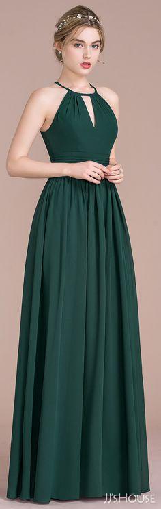 JJsHouse A-Line/Princess Scoop Neck Floor-Length Chiffon Bridesmaid Dress With Ruffle Trendy Dresses, Elegant Dresses, Cute Dresses, Beautiful Dresses, Short Dresses, Dress Outfits, Fashion Dresses, Dress Up, Green Dress Outfit