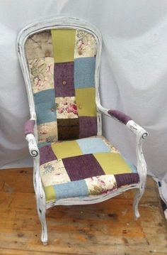 patchwork armchair chair fireside chair louis shabby chic country style in Home, Furniture & DIY, Furniture, Chairs   eBay