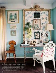 dens/libraries/offices - Benjamin Moore - Dolphins Cove - bright. blue walls bulletin board blue vintage floral wrapping paper vintage ornate frame desk white chair ivory drapes