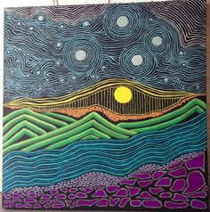 3'wx3'h acrylic on canvas painted by Michele Donohue, Bright Horizon, abstract landscape