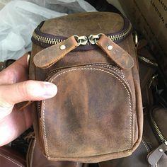 Vintage Leather Belt Pouch for Men Waist Bags BELT BAGs Shoulder Bags – imessengerbags Leather Belt Pouch, Leather Belts, Leather Backpack, Mini Messenger Bag, Brown Backpacks, Belt Bags, Long Wallet, Card Wallet, Vintage Leather