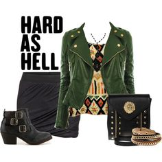 Black mini skirt and Green leather jacket