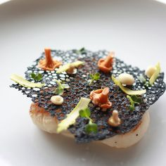 "233 Likes, 15 Comments - French Grill (@french_grill) on Instagram: ""Scallops / miso / squid ink tuile #newmenu #comingsoon #autumn #squidinkcrisp #tuile #chanterelles…"""