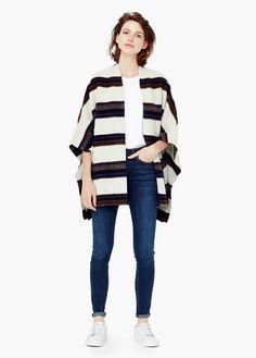 Poncho lã jaspeado | MANGO