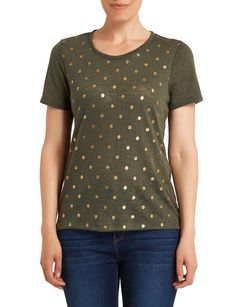 This spot foil print tee has short sleeves and a round neck. Womens Clearance, Lace Bikini, Printed Tees, Polka Dot Top, Short Sleeves, Bikinis, Clothes, Beautiful, Tops
