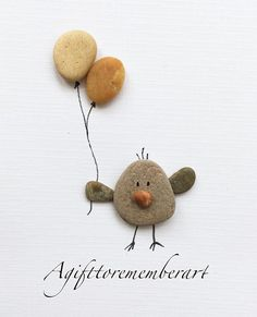 """Birthday bird"" #agifttorememberart #pebbleart #birds #nature #etsy #etsyseller #makersgonnamake #birthday #art #instaphoto #instaart #stones #giftshop #neshatghaffari #photooftheday #roomdecor #handmadecards #unique #australia #beach #adelaide #gift #cute"