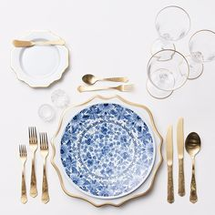 Tablescape | Casa de Perrin #casadeperin | Anna Weatherley Chargers + Vintage Blue Garden Collection China + Chateau Flatware + NEW 24k Gold Rimmed Stemware + Antique Crystal Salt Cellars. #casadeperrin