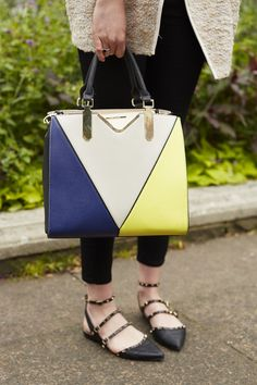 Holly Venten, fashion student... we love her blocked colours, studs, straps and pointy toes! All in good style and bang on trend.