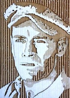 """Henry Fonda"" Cardboard Relief Portrait - by Giles Oldershaw;  ""From a piece of corrugated cardboard [the artist will] remove layers to make shadows – which define the image.""    ...vertical..."
