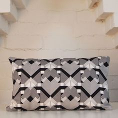 Geo-Graphica,in,Black,Rectangular,Cushion,cushion, pillow, geometric, rectangle, rectangular, bolster, textiles, design, black, white, geo graphica, hotel del loco, pattern, bgoods