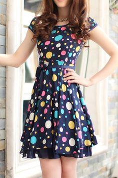 Sweet Polka Dot Bound Waist Dress
