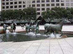 The Mustangs of las Colinas.   Location: Irving, Texas. Designer: Robert Glen with SWA. Year: 1976-1984.