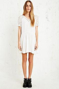 Pins & Needles Lace Sleeve Babydoll Dress in White