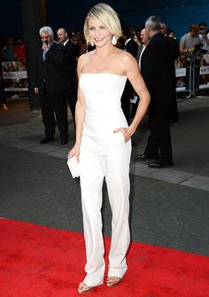 For the London premiere of What to Expect When You're Expecting in May, 22, 2012, Cameron Diaz chose a white jumpsuit, clutch, and heels all by Stella McCartney.