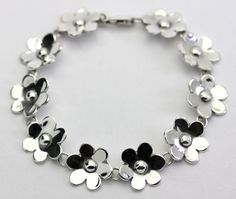"Sterling Silver Flower Shaped Link Bracelet 7"" #Floral"