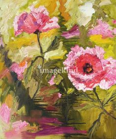 Pink Oriental Poppies Oil Painting by Ginette Call