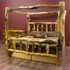 The rustic bed to go in my dream home. very cool!