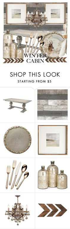 """Cozy Cabin"" by azurevesture ❤ liked on Polyvore featuring interior, interiors, interior design, home, home decor, interior decorating, Benson-Cobb Studios, Gien, Towle and Home Decorators Collection"