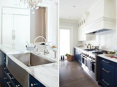 Marcus Design: {designer profile: kelly deck} right: navy lower cabinets, shiny white subway tiles