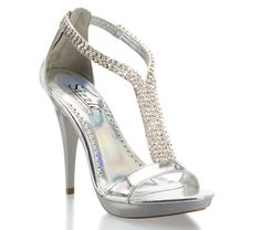 Silver 2013 Coloriffics High Heel Prom Shoe with Rhinestones Reno | Promgirl.net