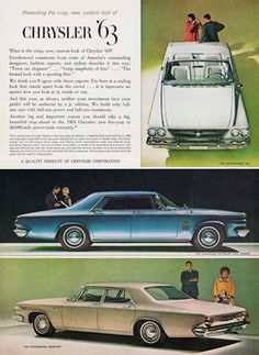 Chrysler Sport Bred 300 New Yorker Newport 1963 - Mad Men Art: The 1891-1970 Vintage Advertisement Art Collection