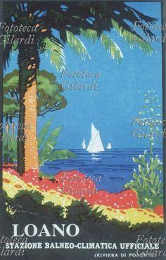 TURISMO Locandina pubblicitaria 'Loano, stazione balneo-climatica ufficiale, Riviera di Ponente' Liguria, anni 1930-39. Fototeca Storica Nazionale Ando Gilardi