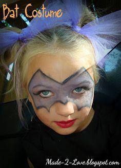 Made to Love: DIY Fledermaus Kostüm: - Christmas Deesserts Bat Makeup, Kids Makeup, Costume Makeup, Batgirl Costume Kids, Kids Bat Costume, Costume Ideas, Minnie Mouse Face Painting, Girl Face Painting, Face Paintings