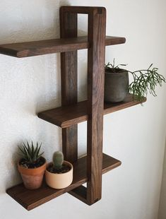 Modern Wall Shelf Solid Walnut for Hanging Plants Books Photos. Mid-century - Floor Plants - Ideas of Floor Plants - Modern Wall Shelf Solid Walnut for Hanging Plants Books Photos. Woodworking Projects Diy, Diy Wood Projects, Woodworking Jointer, Woodworking Machinery, Woodworking Furniture, Pinterest Home Decor Ideas, Palette Diy, Diy Regal, Modern Shelving