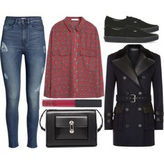 A fashion look from November 2015 featuring MANGO tops, Balmain coats and H&M jeans. Browse and shop related looks.