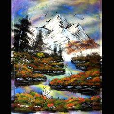 Mountain scene spray painting - art by Robert Stevens