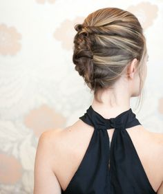 If you want your prom hair to stand out, try this textured french twist from Camille Styles. This prom updo requires bobby pins, hairspray, a teasing comb and crimping iron. Upstyles For Short Hair, Short Hair Bun, Cute Hairstyles For Short Hair, Trending Hairstyles, Elegant Hairstyles, Up Hairstyles, Long Haircuts, Hairstyle Ideas, Formal Hairstyles