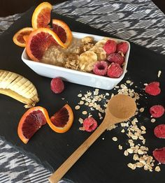 Orange you glad you follow me?  Jazzin up some oatmeal this morning after feeling guilty from a fun Saturday of day drinking!  • 1. Bring one cup of water to a boil. Add 1/2 cup of oatmeal and stir for about 5-7 minutes until it becomes creamy. 2. Add brown sugar and cinnamon to flavor. 3. Garnish with fresh fruit and granola. I used blood oranges, bananas, frozen raspberries and homemade granola.  Topped it all off with a honey drizzle!