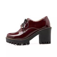 QUTAA 2018 negro cuadrado de tacón alto Mujer PU charol tobillo botas Mujer  Zapatos de encaje f78e0cc51d9f