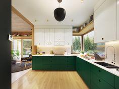 Garden Greens Add Personality to this Warm and Modern Apartment The Secret Garden, Futuristisches Design, Deco Design, Architecture Design, Contemporary Apartment, Modern Bar, Scandinavian Home, Sweet Home, Kitchen Cabinets