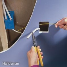 an Electrical Outlet Use this easy method to install a new electrical outlet without a lot of wire pulling.Use this easy method to install a new electrical outlet without a lot of wire pulling. Add Electrical Outlet, Installing Electrical Outlet, Home Electrical Wiring, Electrical Projects, Electrical Outlets, Outlet Wiring, Electrical Engineering, Engineering Symbols, Electrical Inspection