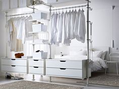 Open Wardrobe In Bedroom Creative Open Bedroom Wardrobe Storage With Hangers For Clothes Open Closet Ideas For Small Spaces Ikea Bedroom, Closet Bedroom, White Bedroom, Bedroom Furniture, Ikea Closet, Ikea Open Wardrobe, Pax Wardrobe, Bedroom Sets, Wardrobe Rack