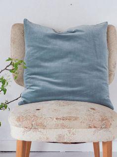 Kudde sammet, 50×50, Blå, blågrön, Madam Stoltz