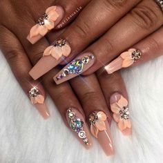 Examples Of Beautiful Long Nails To Inspire You Best Long Nail Designs for Glamorous Girls Long Nail Designs, Beautiful Nail Designs, Cute Nail Designs, Nail Designs Bling, Nails Design, Glam Nails, Bling Nails, 3d Nails, Bling Nail Art