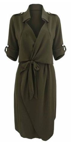 Great Work Dress! Love Khaki! Army Green Stylish Turn-Down Collar Long Sleeve Solid Color Self Tie Belt Women's Trench Coat Style Dress #shirtdress