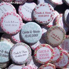 Badges mariage personnalisés Cécile & Kévin – Champêtre & Liberty
