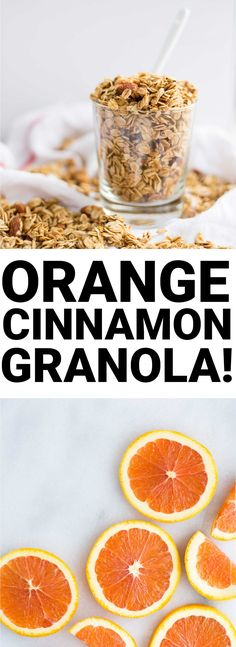 """Addictive Orange Cinnamon Granola: A sweet and citrusy granola thats filled with chia seeds, almonds, and rolled oats. A wholesome vegan and gluten free breakfast or snack! Vegan Gluten Free Breakfast, Gluten Free Breakfasts, Breakfast Recipes, Vegan Snacks, Healthy Snacks, Healthy Recipes, Drink Recipes, Granola Bars, Oat Granola Recipe"