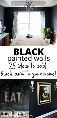 The easiest and most cost effective way to completely transform a room, is to paint it! Especially by adding a rich DIY black accent wall. #heatherednest #diyblackaccentwall #blackpaintedrooms Black Accent Walls, Black Walls, Black Accents, Black Painted Walls, Paint Sheen, Chalkboard Wall Bedroom, Accent Wall Bedroom, Bedroom Black, Built In Bookcase