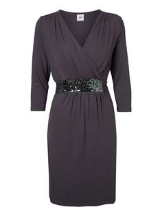Delicate sequinned special occasion grey maternity dress with nursing access for discreet breastfeeding The Claudy Tess Dress features a pretty band