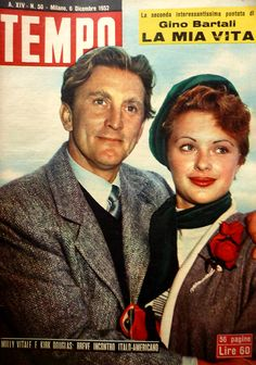 """Kirk Douglas and movie actress Milly Vitale (real name: Camilla Vitale): """"Italian-American brief encounter"""" (8th December 1952). In 1953, Kirk Douglas and Milly Vitale starred in Edward Dmytryk's drama """"The juggler""""."""