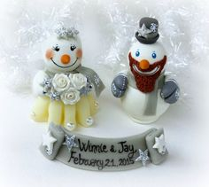 Snowman winter wedding cake topper groom with by PerlillaPets