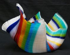 Fused Glass Tapestry Bowl / Carole Perry