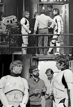 George Lucas, Mark Hamill, Harrison Ford and Peter Mayhew on the set of 'Star Wars: A New Hope' Star Wars Love, Star War 3, Death Star, Star Wars Cast, Star Trek, Harrison Ford, Star Wars Brasil, Science Fiction, Princesa Leia